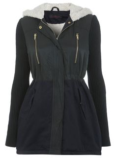 Colour Block Parka - Coats & Jackets - Clothing - Miss Selfridge