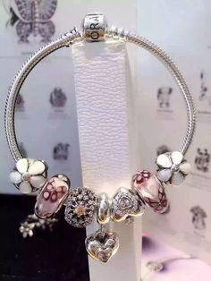 50% OFF!!! $199 Pandora Charm Bracelet Pink White. Hot Sale!!! SKU: CB01688 - PANDORA Bracelet Ideas