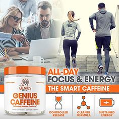 Genius Caffeine, Extended Release Microencapsulated Caffeine Pills, All Natural Non-Crash Sustained Energy Focus Supplement, Preworkout Nootropic Brain Booster For Men Count Pre Workout Supplement, Workout Regimen, Need To Lose Weight, How To Increase Energy, Burn Calories, Pills, Fitness Motivation, Caffeine, Gym Supplements
