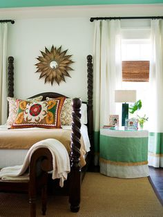 Traditional style mixes with eclectic accessories in this show-stopping bedroom: http://www.bhg.com/rooms/bedroom/master-bedroom/25-of-our-favorite-real-life-bedrooms-/?socsrc=bhgpin112813soaringheights&page=36