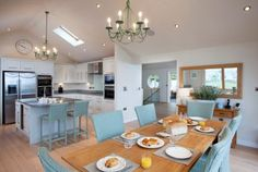 Open plan living space at The Edge, a self-catering holiday home in Polzeath, North Cornwall