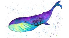 Galaxy Whale [Watercolor] - Double Exposure Painting Timelapse
