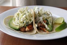 Fish Tacos with Cilantro Lime Cabbage Slaw | Feastie. This is almost the recipe im lookin for.