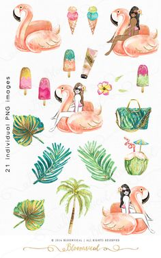 A vibrant & fun summer graphics collection featuring a fashion illustrated woman on a flamingo floater, coconut tree, tropical leaves, flowers, sun cream, ice creams, popsicles, hand bag in trendy colors, gold foils and confetti!  The cliparts are hand drawn and painted by me. You will receive 21 individual graphics to create your own design arrangement and layout.  The clip art set is perfect for planner stickers, planner dashboard, planner inserts, scrap booking, blogger, fashionista, h...