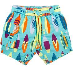 NWT Gymboree Light Blue Walrus Surfboard  Swim Trunks Swim Shorts Boys Swimwear