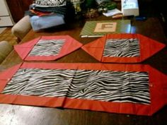 Zebra table runner and place mats