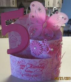 Handmade bendi card for Greatgranddaughter's birthday