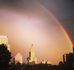 Rainbow over Providence, Rhode Island #VisitRhodeIsland