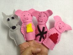 Three Little Pigs finger puppets by HeartFeltCraft1 on Etsy, £4.00