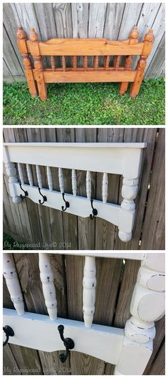 Repurpose an old bunk bed into this small and creative shelf to hang your coat. #furnituremakeover #diyproject