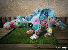 African Flowers Dragon, by Croc's Betty (Heidi Bears Design)