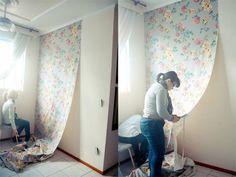tecido na parede