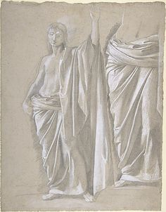 Study of a Draped Figure Edgar Degas (French, Paris 1834–1917 Paris) Date: 1857–58 Medium: Graphite heightened with white gouache, on beige laid paper