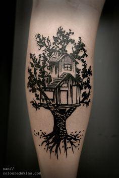 TreeHouse // Linocut Tattoo // colouredskins.com