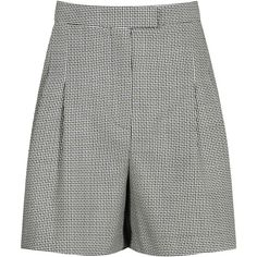Reiss Maxine Micro Pattern Tailored Shorts, Black/White (485 MYR) ❤ liked on Polyvore featuring shorts, highwaist shorts, high waisted print shorts, black and white shorts, high-waisted shorts and reiss