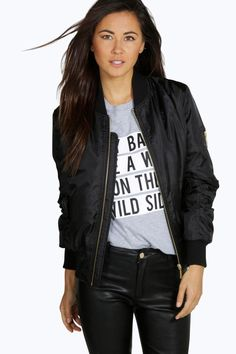 Buy Black Boohoo Bomber jacket for woman at best price. Compare Jackets prices from online stores like Boohoo - Wossel United States Coats For Women, Jackets For Women, Plastic Raincoat, Black Bomber Jacket, Kimono Jacket, Padded Jacket, Color Negra, Capsule Wardrobe, Gifs