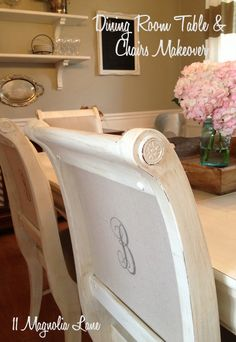 """A damaged table and dirty chairs are given a couple of coats of chalk paint and distressed for a rustic, yet elegant redo at 11 Magnolia Lane. Citrasolv fabric transfer puts a """"B"""" monogram on the back of each chair, and canvas painters' dropcloths are used as upholstery fabric."""