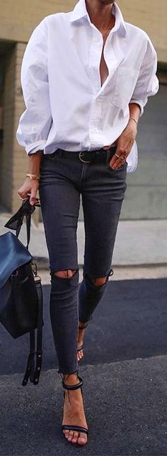 #winter #outfits white long-sleeved shirt and distress jeans. Pic by @_luxury_fashion_style.