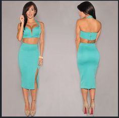 Free Shipping 2 Piece Bandage Women Sexy Dresses 2014 New Summer Bodycon Sexy Clubwear Elegant Celebrity Party Dresses ZC1472 $17.11