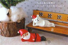 cute sideways lying Santa Claus figure from Japan