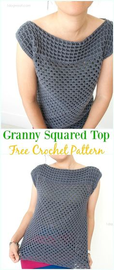 Crochet Granny Squared Top Free Pattern - Crochet Women Sweater Pullover Top Free Patterns
