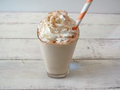 Skinny Cinnamon Dolce Frappe - A frozen coffee drink blended with milk and cinnamon and topped with whip cream and sugar and cinnamon.