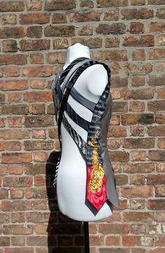 Ladies waistcoat OOAK upcycled neckties black and white by beWe
