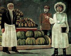 Sanitary inspector woman of the market, 1916 by Нико Пиросмани. Наивное искусство (Примитивизм). жанровая живопись. Private Collection