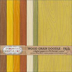 Wood Grain Doodle Papers - Fall | #digiscrap peppermintcreative.com