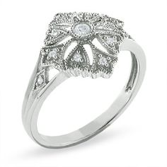 Diamond Accent Fleur-de-Lis and Heart Kite Ring in 10K White Gold - Clearance - Zales