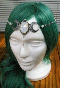 Free Shipping   Triple Goddess Opal Glass Crescent Moon Circlet Headdress  Tiara   Pagan Bridal Piece fa8b4ef57fa