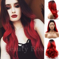 "44.30$  Buy here - http://alif0t.worldwells.pw/go.php?t=32725658775 - ""Glueless 16-26"""" Synthetic Lace Front Wig Ombre Red Wig Dark Root Long Wave Hair Wig Heat Resistant Cheap Female Perruque"" 44.30$"
