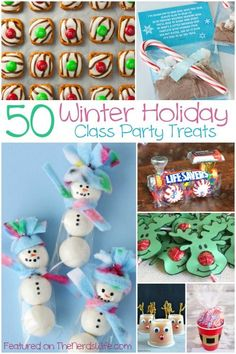 50 Winter Holiday Class Party Ideas! From store-bought snacks to homemade treats, to non-food goodies, this list has everything you need for Christmas classroom parties.