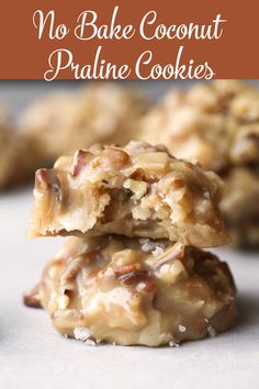 No Bake Coconut Praline Cookies are out of control delicious! The texture, the f… No Bake Coconut Praline Cookies are out of control delicious! The texture, the flavors, the sweet brown sugar flavor…it all comes together in a sweet no bake cookie! Candy Recipes, Cookie Recipes, Dessert Recipes, Bar Recipes, Brownie Recipes, Sweet Recipes, Coconut Pecan Cookies, Chocolate Chip Cookies, Chocolate Cake
