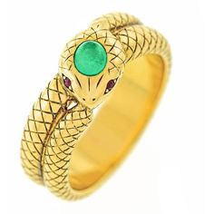 Preowned Antique Tiffany Emerald Gold Snake Ring ($9,800) ❤ liked on Polyvore featuring jewelry, rings, green, 18k gold ring, antique victorian rings, gold charms, emerald ring and green gold ring