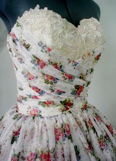 A Floral Chiffon 50s Cocktail Dress and Lace trims by elegance50s, $265.00