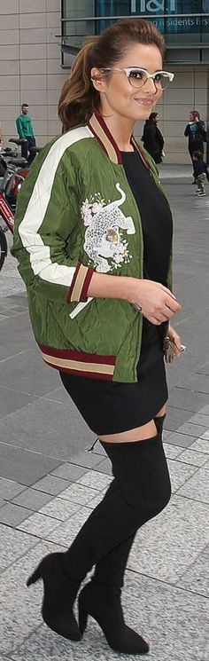 Who made Cheryl Cole's green print bomber jacket and white cat sunglasses? Cheryl Cole Style, Cheryl Ann Tweedy, Girls Aloud, Cat Sunglasses, Printed Bomber Jacket, Jamie Oliver, Green Print, Girl Fashion, Fashion Tips