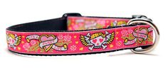 Pink Skull Dog Collar / Tattoo in Pink / Custom Dog by 3pooches