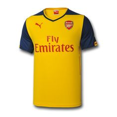 Arsenal FC Away Kit - Solid yellow with navy blue shoulders and sleeves.  Red and yellow highlights on sleeve hems with red highlights down sides. 2f02c5892