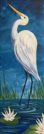 Egret Among the Lilies 10x30 Canvas