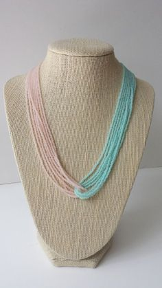 Mint and rose seed bead necklace pink and by StephanieMartinCo, $15.00