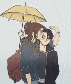 "drinkyourfuckingmilk: SNK LeviHan in the Rain "" so i saw a couple today and the girl was trying to keep her boyfriend dry by using her hand since he insisted on giving her most of the umbrella and then this happened """