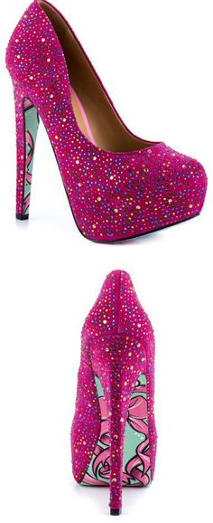 Taylor Says's Multi-Color Pink Lady ~❥ Pink Rhinestone Heels #bow