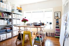 I like this home office ..... although the large stacks of books in my house would forever be knocked over!