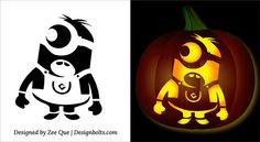 5 Free Halloween Minion Pumpkin Carving Stencils, Patterns, Ideas & Printable Templates for Kids 2015