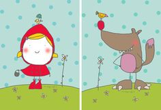 Ilustraciones misspink Cute Images, Pretty Pictures, Drawing For Kids, Art For Kids, Red Riding Hood Party, Red Ridding Hood, Funny Drawings, Red Hats, Children's Book Illustration