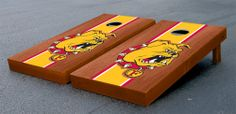 Our Ferris State University Bulldogs Cornhole Game Set Rosewood Stained Birch Version. Get your custom set at victorytailgate.com