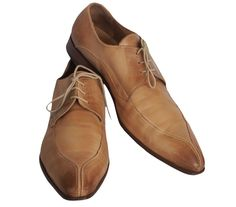 VARESOTTO Mens Oxford Shoes Leather Tan Antiqued Finish Size 44 US 11 #Varesotto #Oxfords
