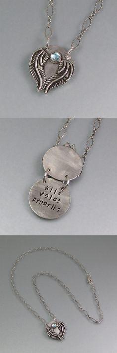 Alis Volat Propriis secret message winged locket necklace in sterling silver with Swiss blue topaz by Kryzia Kreations