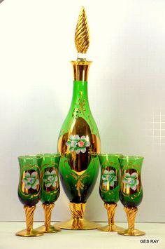 Antique Hand Painted 24KT Moser Glass Bohemian Czech  Murano Glass Decanter Set  http://stores.ebay.com/sagaofluck